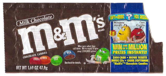 2000 Mars M&M's Bag Wrapper Chocolate Candies