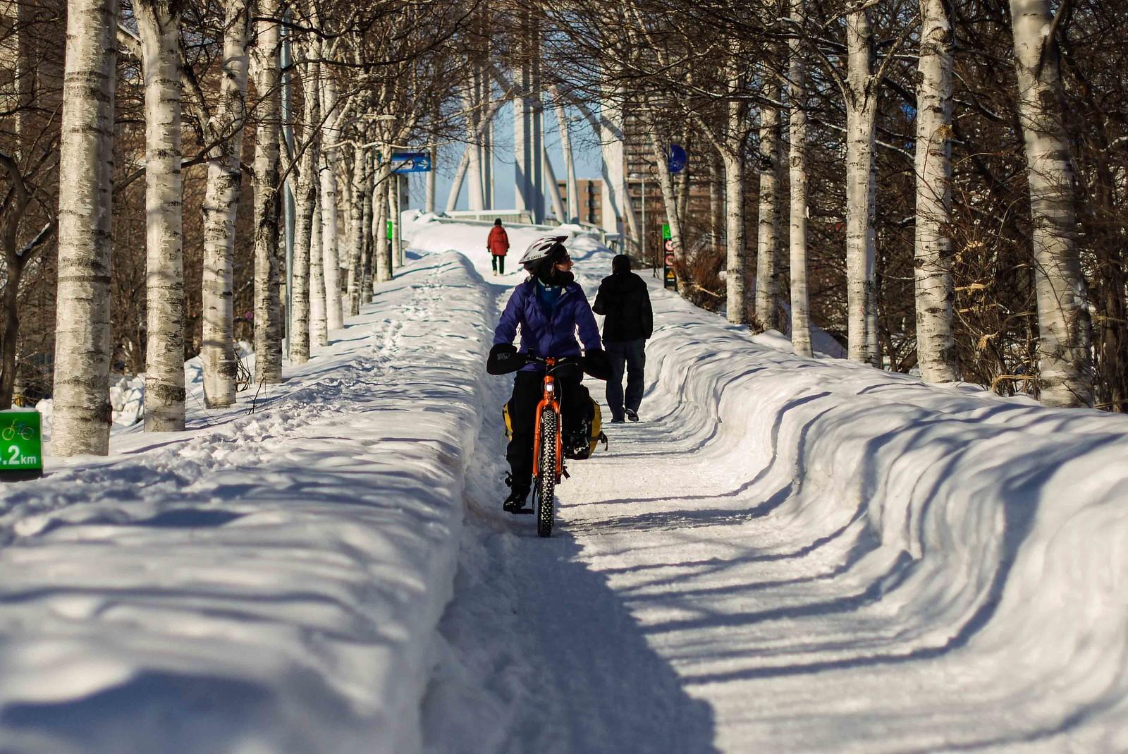 Shiroishi Cycling road in Sapporo in winter (Hokkaido, Japan)