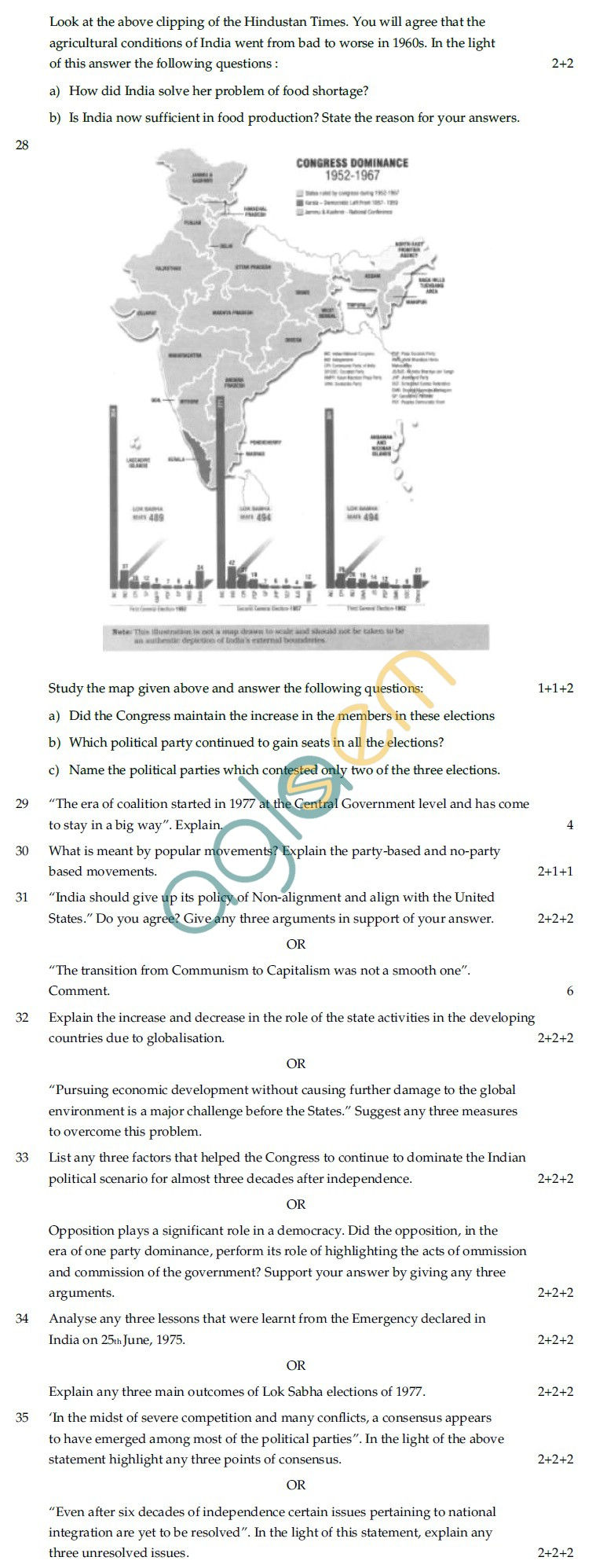 CBSE Board Exam Sample Question Papers Class XII - Political Science