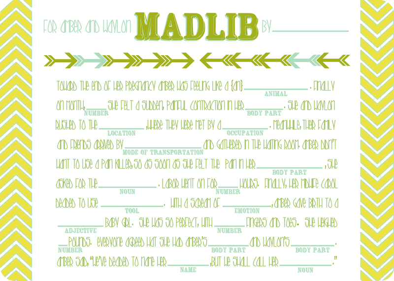 {baby shower} madlib