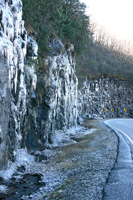 Icy wall on Richard Russell Scenic Highway