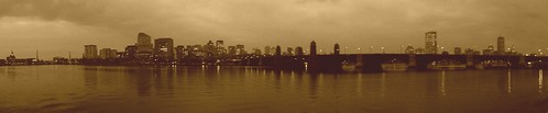 Sepia Boston Charles River Nighttime Panorama