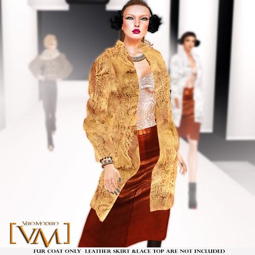 [VM] VERO MODERO _ Beren Fur Coat Set Milky