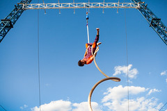 bungee jumping(0.0), freestyle skiing(0.0), sports(0.0), extreme sport(0.0), physical exercise(0.0), adventure(1.0), bungee cord(1.0), outdoor recreation(1.0), performance(1.0), blue(1.0), person(1.0), sky(1.0),