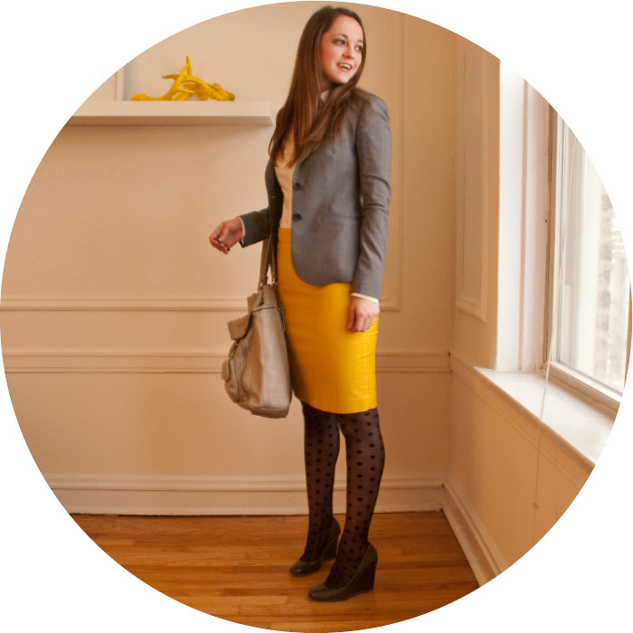 dash dot dotty, yellow pencil skirt, j.crew no. 2 skirt, yellow and gray, polka dot tights,