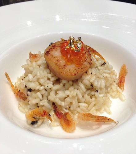 Sakura Shrimp Risotto with Morel Mushroom-Black Truffle Butter, Ikura & Seared Hokkaido Scallop