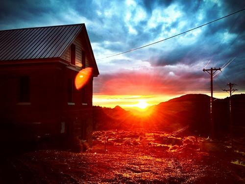 sun mountain skyline sunrise desert country