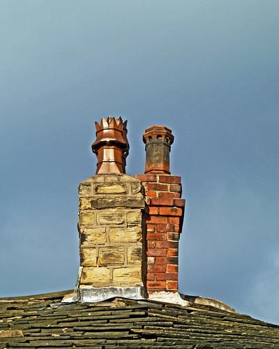 Stone chimney, brick chimney