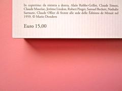 Mathieu Lindon, Cosa vuol dire amare; Barbès 2012. [resp. grafica non indicata]; fotog.: A. Robbe-Grillet, C. Simon, C. Mauriac, J. Lindon, R. Pinget, S. Beckett, N. Sarraute, C. Ollier, 1959 © M. Dondero. Quarta di copertina (part.), 2