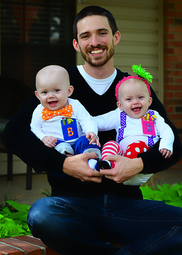 Happy Dad and Twins