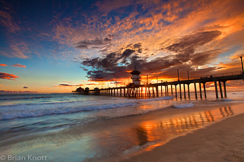 ocean california sunset sea sky sun reflection beach water clouds coast pier sand waves pacific huntington shore brianknott forgetmeknottphotography fmkphoto