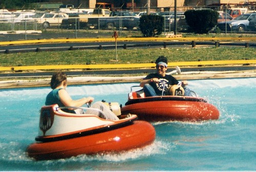 Eddie and Steve splashing it up on the Bumper Boat ride.  Funtime Square.  Alsip Illinois.  May 1988. by Eddie from Chicago