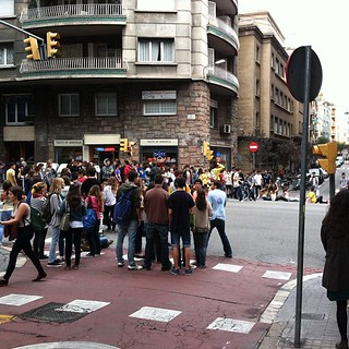 #kvpspain : Our first student protest in #barcelona . They blocked off streets near Metro #fb