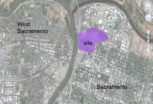 Sacramento Railyards context map (from Google Maps via Shengnan An)