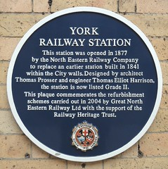Photo of York railway station, Thomas Prosser, and Thomas Elliot Harrison blue plaque