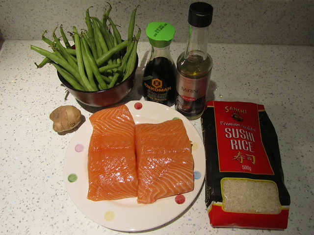 Cooking salmon teriyaki don