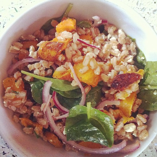 Roasted butternut squash + farro + spinach + feta + pickled red onion + thyme. Thank you smitten for the inspiration!