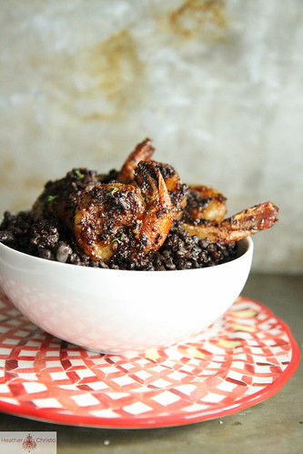Black Lentils with Wicked Shrimp