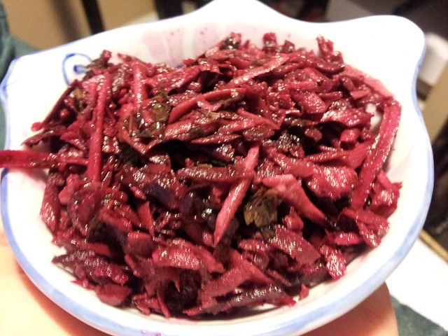 Raw beet parsnip salad