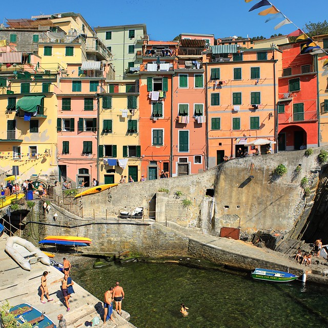 Riomaggiore quay framed among typical coloured buildings