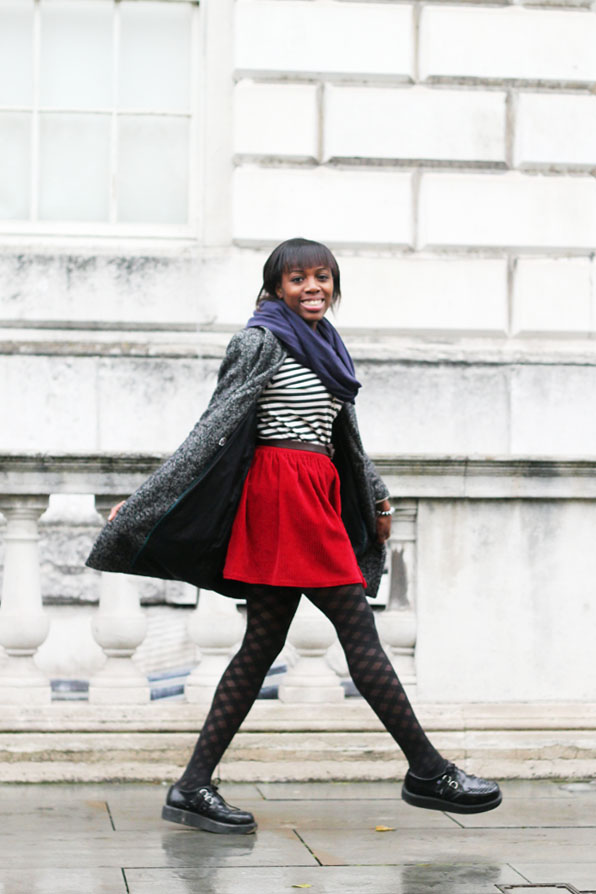 H&M coat A.P.C striped top Asos Red corduroy skirt