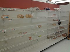 Bread shelves Giant NVA eve of Hurricane Sandy