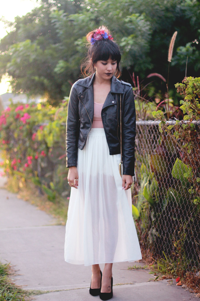 American Apparel chiffon maxi skirt and mesh bodysuit, PU Bomber c/o Sheinside, Dolce Vita suedette heels, Hardcouture jewelry
