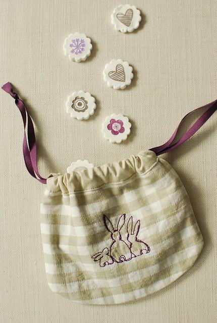 Drawstring sachets + bunnies