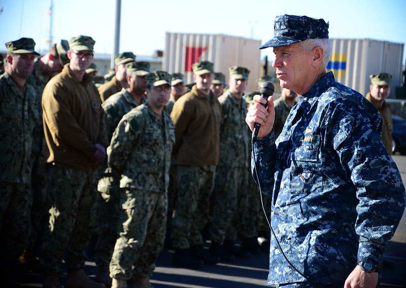 Rear Admiral Gerard P. Hueber, Commander Expeditionary Strike Group 3, speaks to Naval Beach Group.