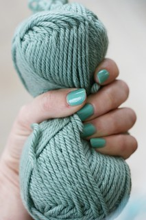 My nails almost match the yarn I'm working with