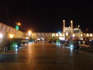Praça Emam Khomeini ªa noite em Esfahan