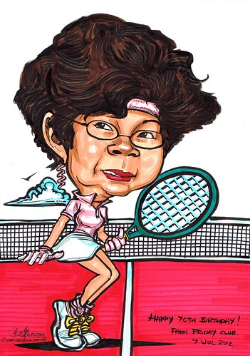 tennis player caricature in Michael Jackson moonwalk posture