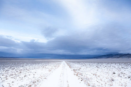 road morning blue winter usa white snow storm cold clouds unitedstates desert empty nevada freezing getty antelopevalley desolate backroad greatbasin vast gettysales