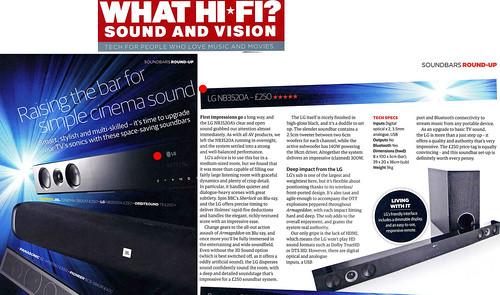AV 전문지 왓 하이파이 1월호에서 LG 사운드바(모델명 NB3520A)를 최고제품으로 선정한 페이지
