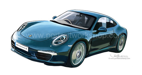 Porsche 911 artwork - colour (watermarked)