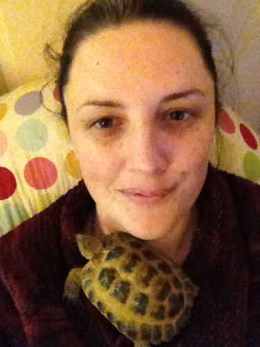 Portrait with Charlie the Tortoise