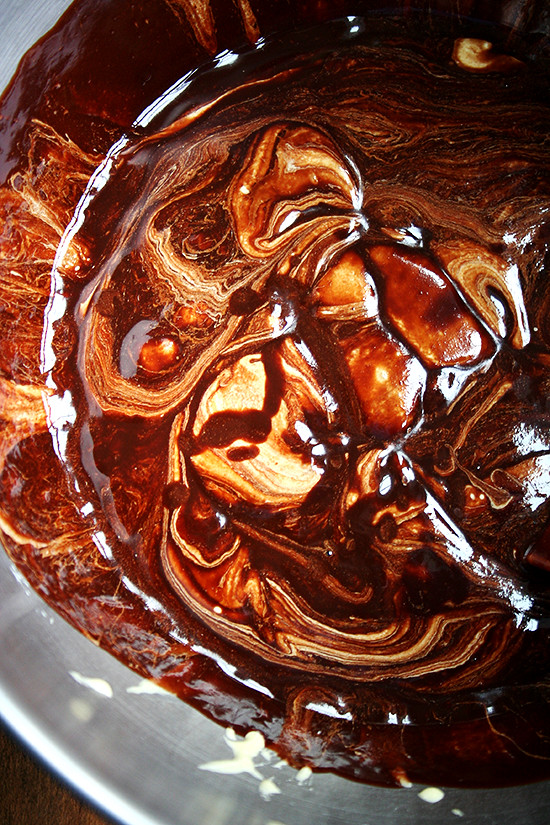 chocolate-almond torte batter