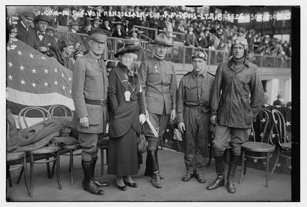 W. Camp, Mrs. C. Van Rensselaer, Col. F.M. Davis, Lt. R. Breeze, Sgt. Coombs (LOC)