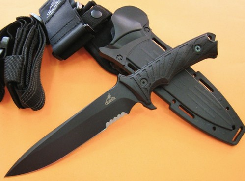 "Gerber LHR Combat Knife 6.87"" Fixed Blade, Reeve and Harsey Design, Strap On Sheath"