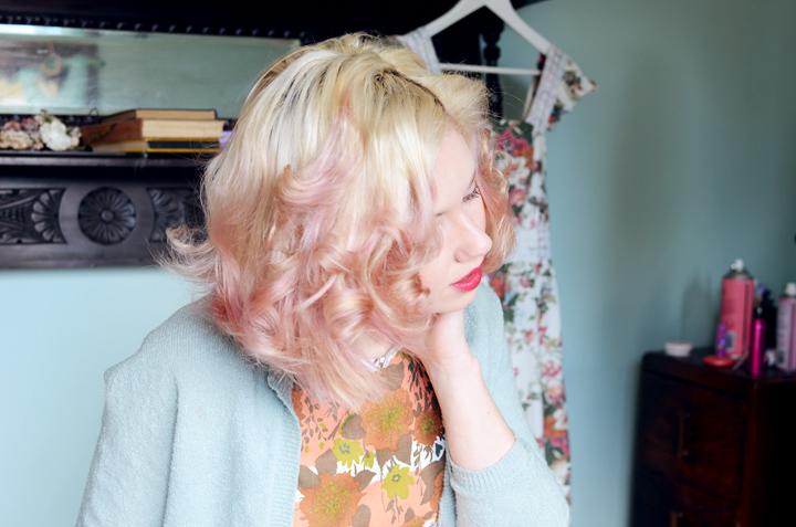 mauve hair coral floral c