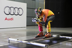 Manuel Osborne-Paradis during wind-tunnel testing at an Audi facility in Germany.