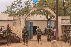 Somali government soldiers patrol a street in the newly-seized southern town of Wanla Weyne on Oct. 12, 2012. Credit: Abdurrahman Warsameh/IPS