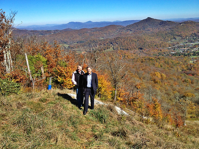 With Gunter Jochl, owner of Sugar Mountain Ski Resort, looking down over one of their slopes.