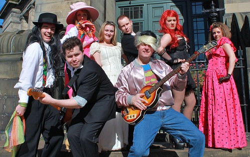 Blair Grandison (George), Fraser Jamieson (Robbie) and Paul Inglis (Sammy) and the principal cast from Allegro's 2012 production of the Wedding Singer. Publicity photo: Kirsty Sutherland