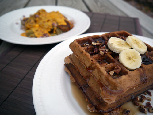 Maple Pecan Waffles with Smothered, Covered Hashbrowns (inspired by the Waffle House) (0050)