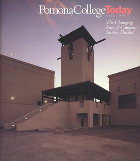 Cover of Fall 1990 Pomona College Magazine featuring then-new Seaver Theatre