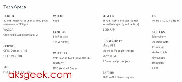Nexus 10 Specs