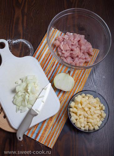 индейка, картофель, лук