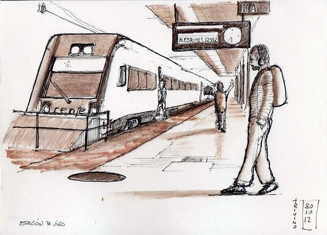 Llegando al tren