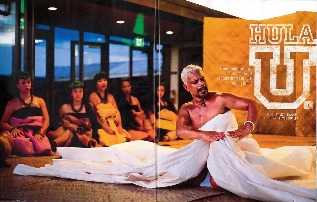 <p>Hawaiian Airlines' October/November 2012 Hana Hou magazine featuring Hawaii Community College's hula halau Unukupukupu on the cover.</p>